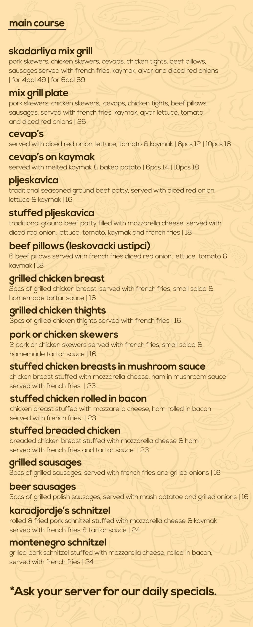 food menu main dishes